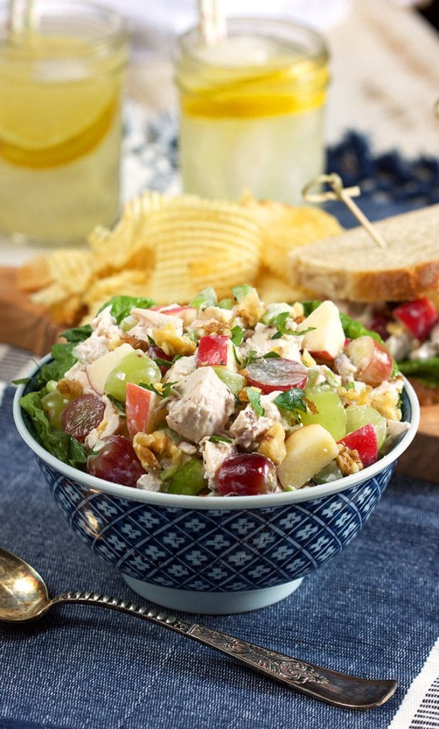 Chicken Waldorf salad in a blue and white bowl