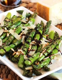 Roasted Asparagus with Pine Nuts Parmesan and Balsamic Glaze | TheSuburbanSoapbox.com