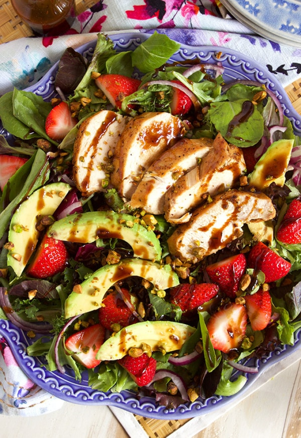 Strawberry Avocado Salad with Balsamic Chicken | TheSuburbanSoapbox.com