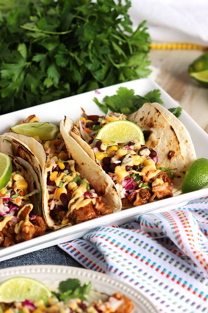 Super easy to make and ready in minutes, these Barbecue Pork Rib Tacos are fast, easy and FRESH! | TheSuburbanSoapbox.com