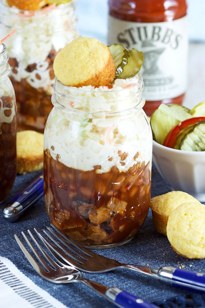 Super easy and perfect for summer parties, Barbecue Beef Brisket Sundaes are a huge hit with guests and the cowboys in your life! | TheSuburbanSoapbox.com