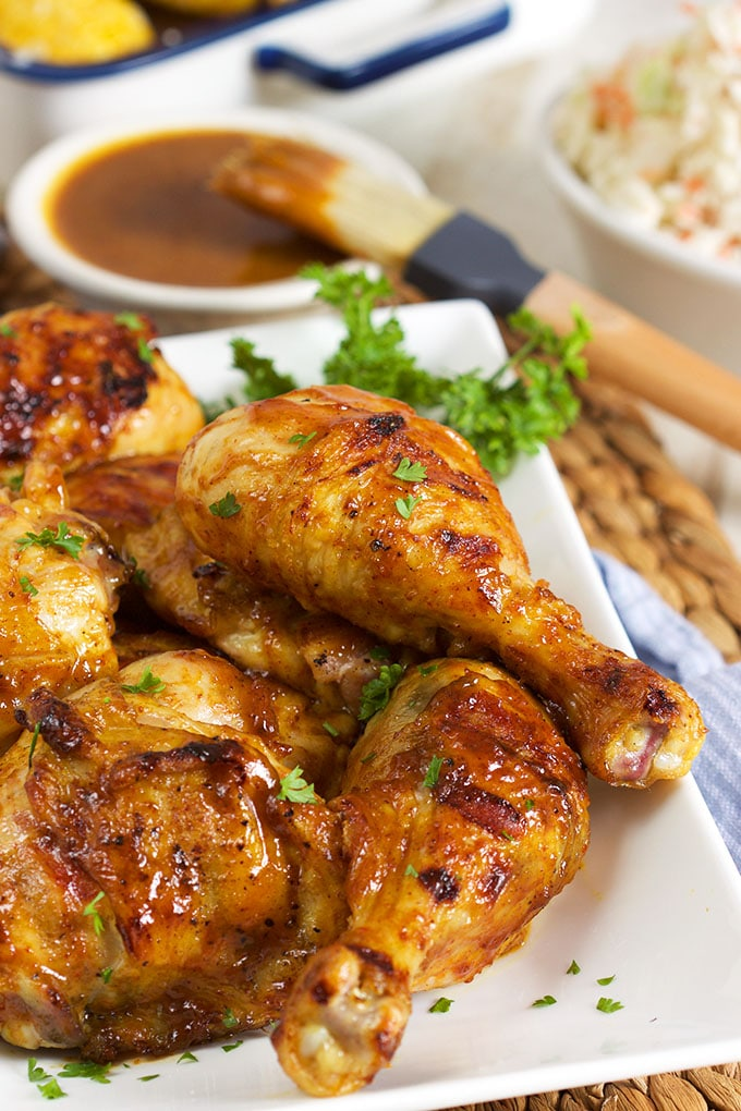 Sweet and tangy, this Carolina Style Barbecue Chicken recipe is a fabulous addition to every cookout or picnic!   TheSuburbanSoapbox.com