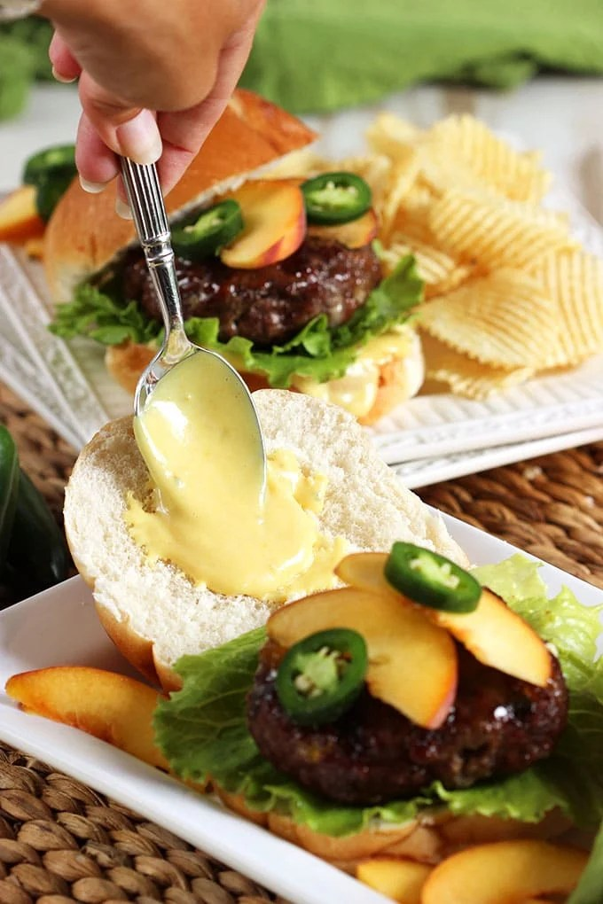 Peach Glazed Blue Cheese Burgers recipe | TheSuburbanSoapbox.com