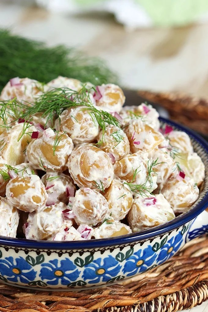 Quick and easy, Goat Cheese Dill Potato Salad will be the star of the show at any picnic or party. | TheSuburbanSoapbox.com