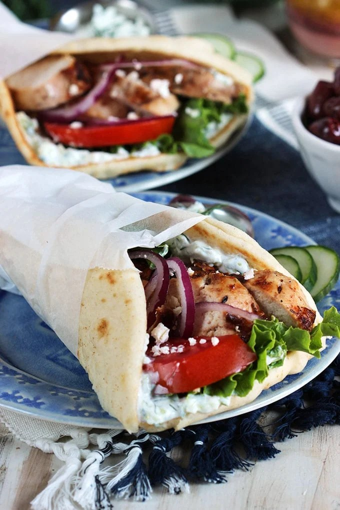 Quick and easy, Grilled Chicken Gyro Recipe is a simple weeknight dinner that's loaded with flavor. | TheSuburbanSoapbox.com