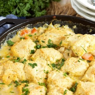 Quick and easy weeknight dinner, Chicken and Dumpling Skillet Casserole Recipe is simple and comforting. Completely from scratch! | TheSuburbanSoapbox.com