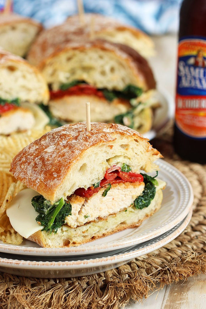 Feed a crowd, party perfect for game day, tailgating or just a fun gathering...these Italian Chicken Cutlet Sandwiches are a great make ahead option for every event!   TheSuburbanSoapbox.com