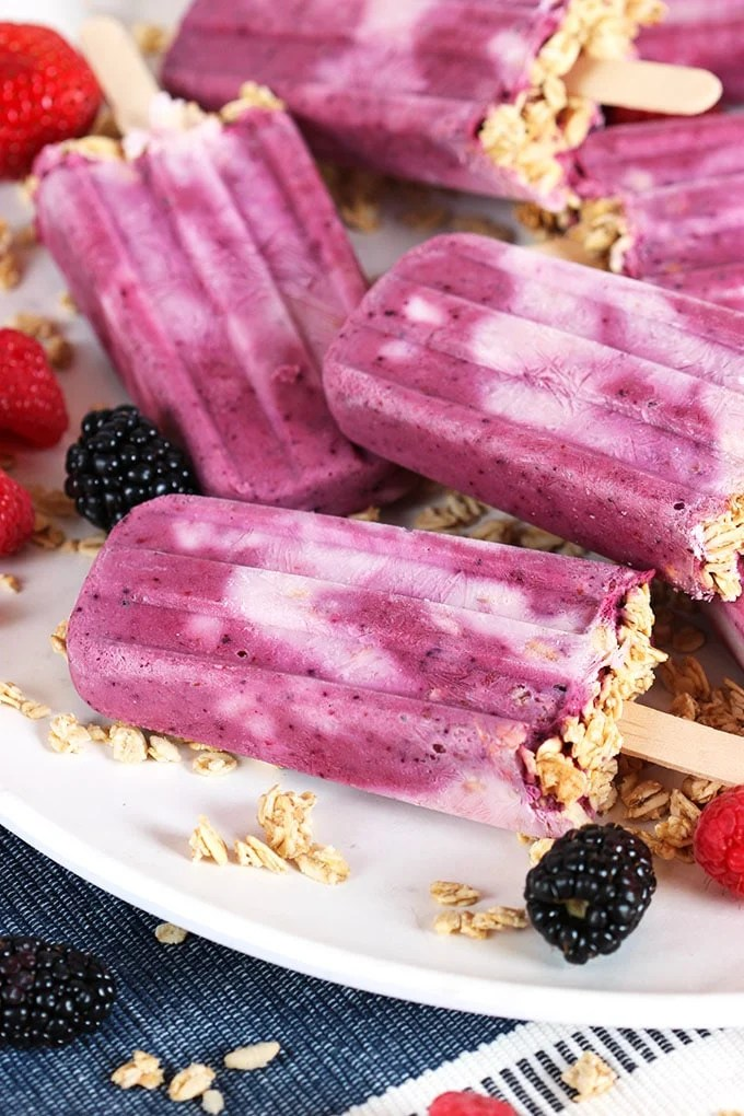 Triple Berry Smoothie Breakfast Popsicles recipe | TheSuburbanSoapbox.com