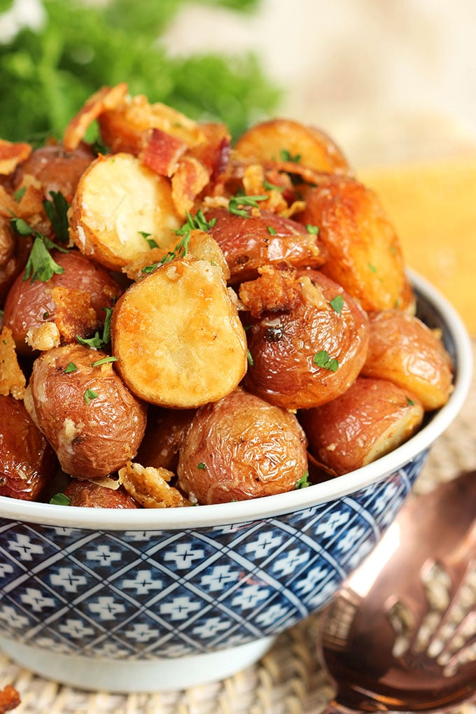 Bacon Parmesan Roasted Potatoes | TheSuburbanSoapbox.com