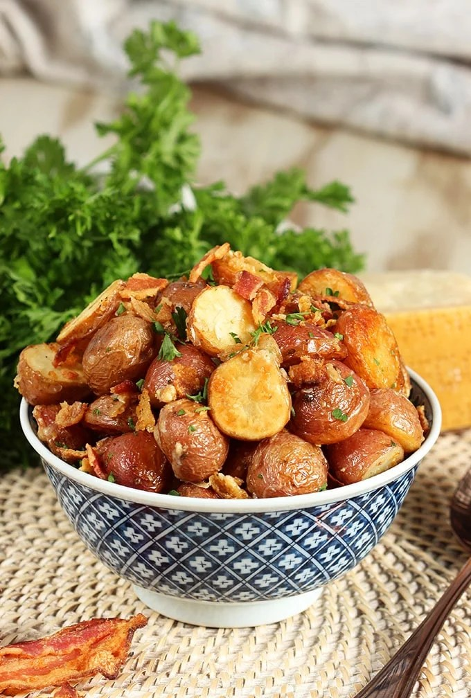 Bacon Parmesan Roasted Potatoes   TheSuburbanSoapbox.com #roastedpotatoes #recipe #sidedish