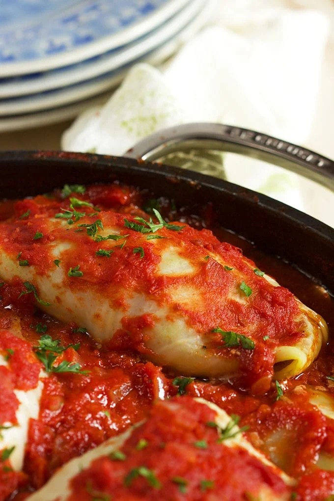 stuffed cabbage roll close up in a pot.
