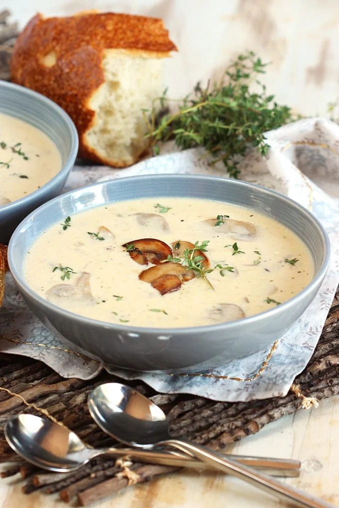 Ready in minutes, this Easy Cream of Mushroom Soup is rich, creamy and light on calories! | TheSuburbanSoapbox.com