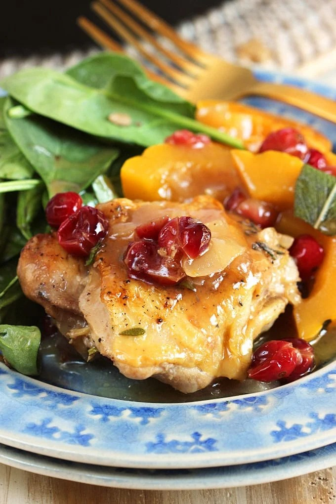 Maple Mustard Chicken Skillet with Cranberries and Delicata Squash | TheSuburbanSoapbox.com