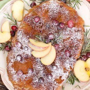 Slow Cooker Apple Cranberry Upside Down Cake | TheSuburbanSoapbox.com