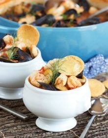 Quick and easy, Traditional Bouillabaisse Recipe is ready in minutes and perfect for holidays or entertaining a crowd! | TheSuburbanSoapbox.com