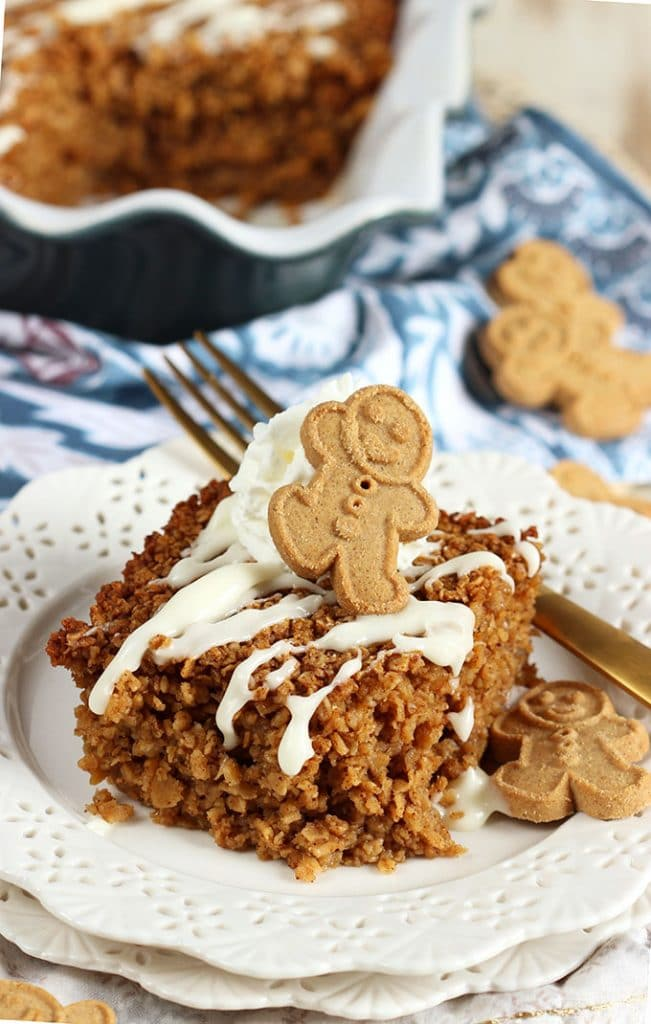 This make ahead breakfast casserole truly is the perfect holiday brunch dish....Easy Gingerbread Baked Oatmeal Recipe is quick and easy to make. Hearty and comforting. From TheSuburbanSoapbox.com