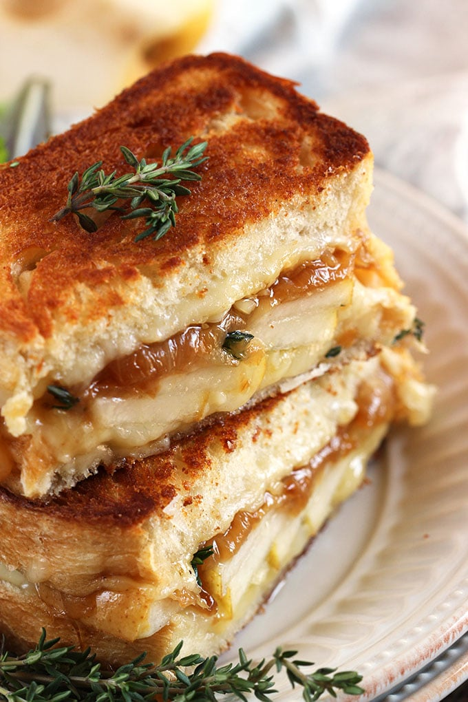 Caramelized Onion Pear Grilled Cheese | TheSuburbanSoapbox.com