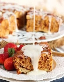 So incredibly easy to make, this Slow Cooker Cinnamon Roll French Toast Casserole is made with refrigerated cinnamon rolls. Great for Sunday Brunch or Christmas morning!!!   TheSuburbanSoapbox.com