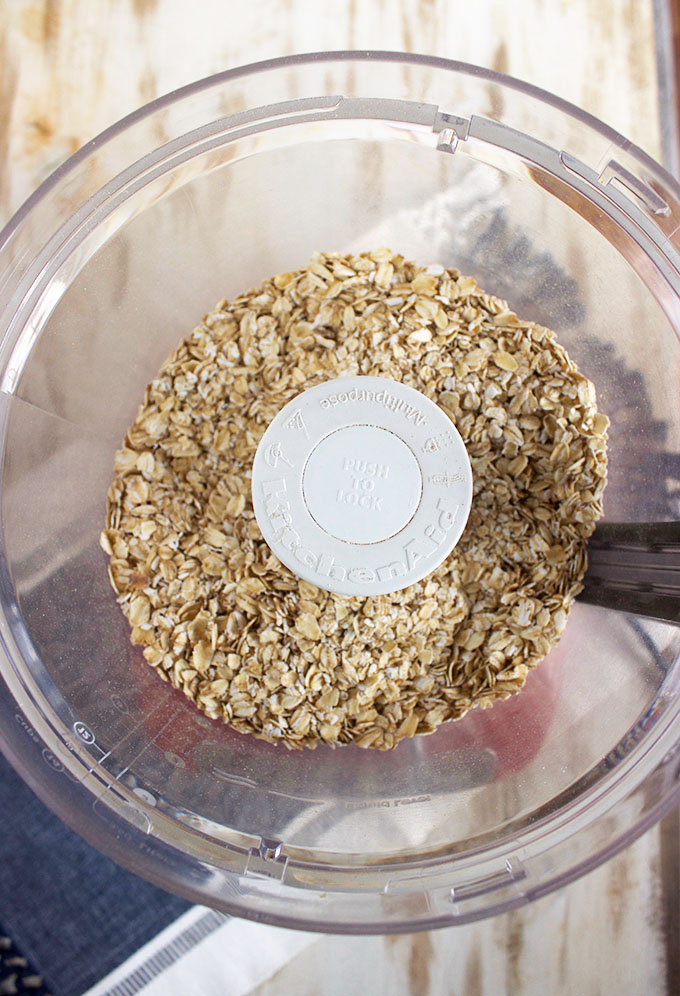 Easy to make Homemade Oat Flour in a food processor bowl from