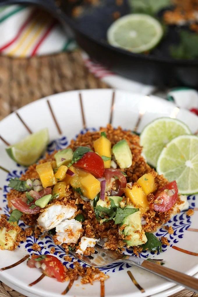 Tortilla Crusted Tilapia with Avocado Mango Salsa | Thesuburbansoapbox.com