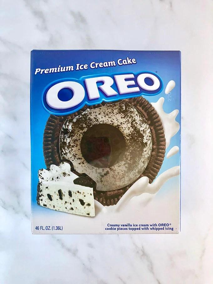 Oreo Ice Cream Cake in the retail box. Thesuburbansoapbox.com