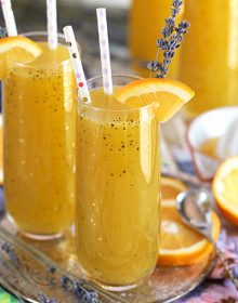 Sparkling Lavender Orange Mimosa Cocktail recipe from TheSuburbanSoapbox.com