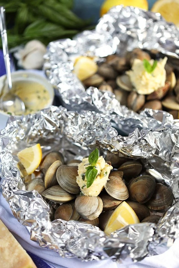 Clams in foil with compound butter.