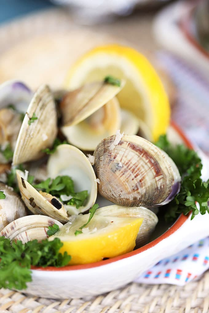 Close up of grilled clams with lemon and basil from TheSuburbanSoapbox.com