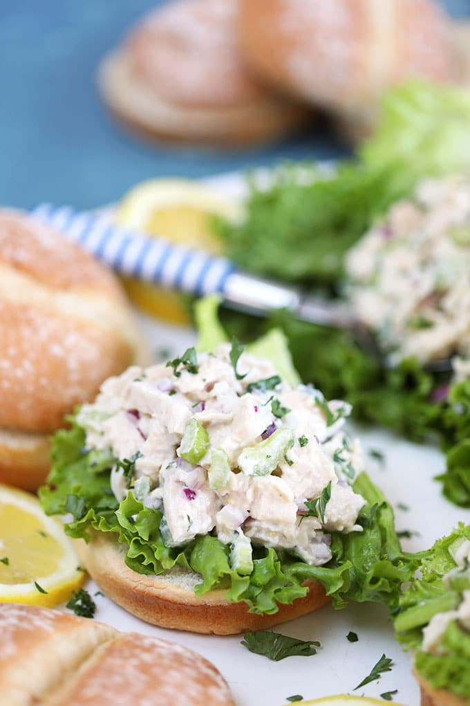 Lemon Tarragon Chicken Salad on a fluffy roll with lettuce from TheSuburbansoapbox.com