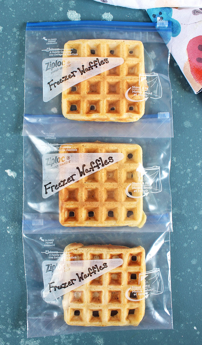 Waffles wrapped in zip top bags and labeled freezer waffles from thesuburbansoapbox.com