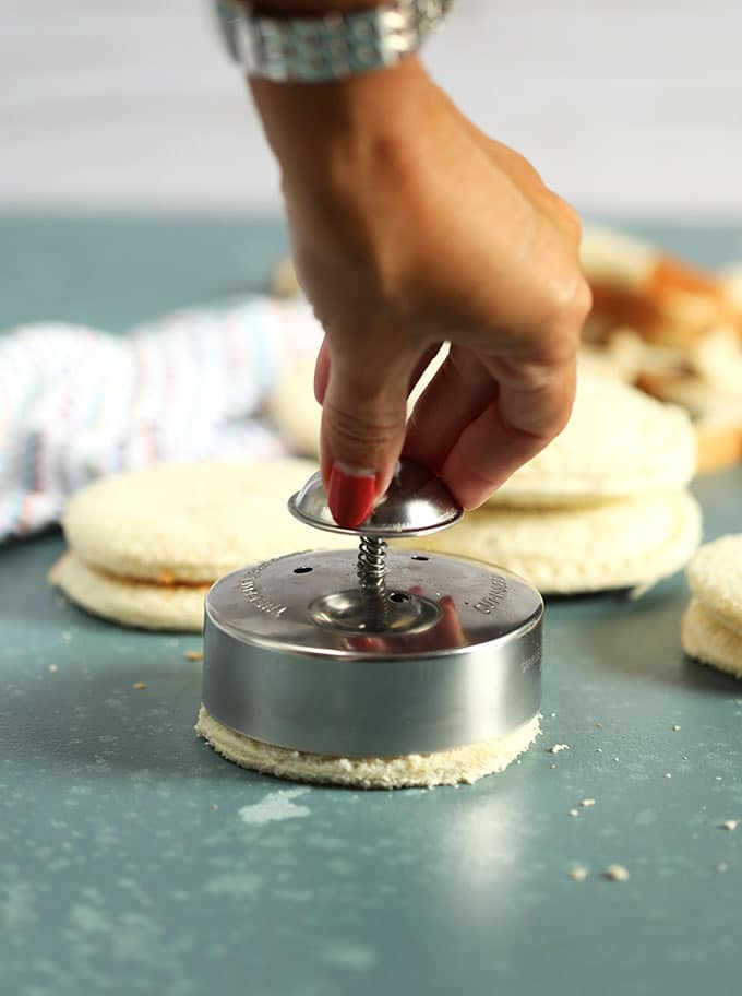 Uncrustables being sealed with a sandwich cutter from TheSuburbanSoapbox.com