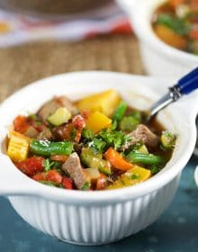 Vegetable Beef Soup in a white bowl.