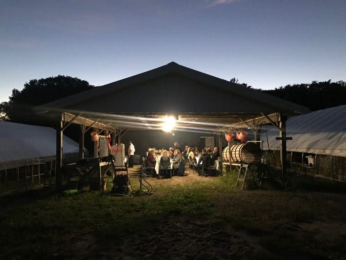 Dinner on a farm at night with string lights.