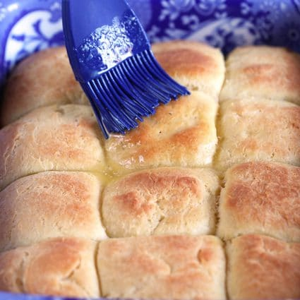 Dinner rolls in a baking dish
