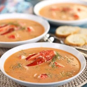 Lobster Bisque in a white bowl.