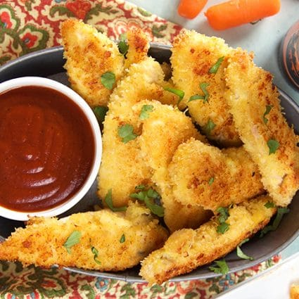 Parmesan Crusted Oven Baked Chicken Tenders Recipe | TheSuburbanSoapbox.com