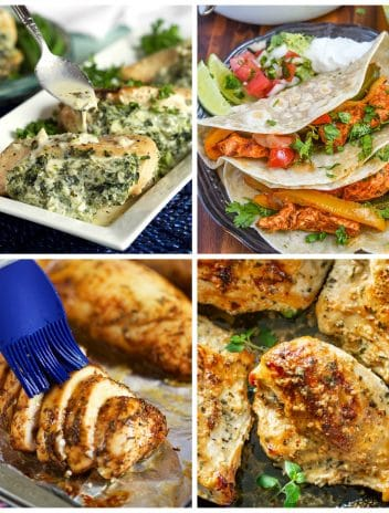 Collage of four oven baked chicken breast recipes, Oven Baked Chicken Breast with a blue basting brush, ,spinach stuffed chicken breast on a white platter, chicken fajita tacos and crispy oven baked chicken breast.