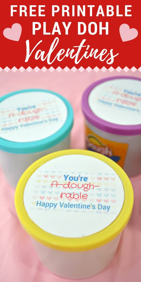 Play Doh Valentine Card idea for kids....tubs of play dough with a printable card on the lid.