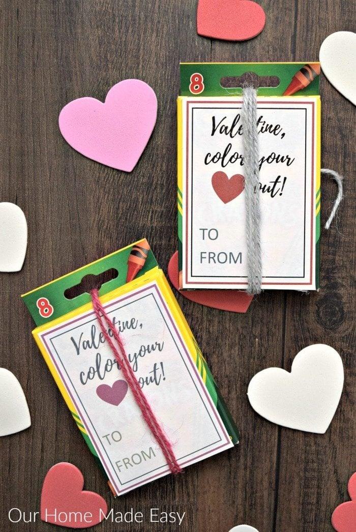 Crayon Box Valentine Card ideas for school.