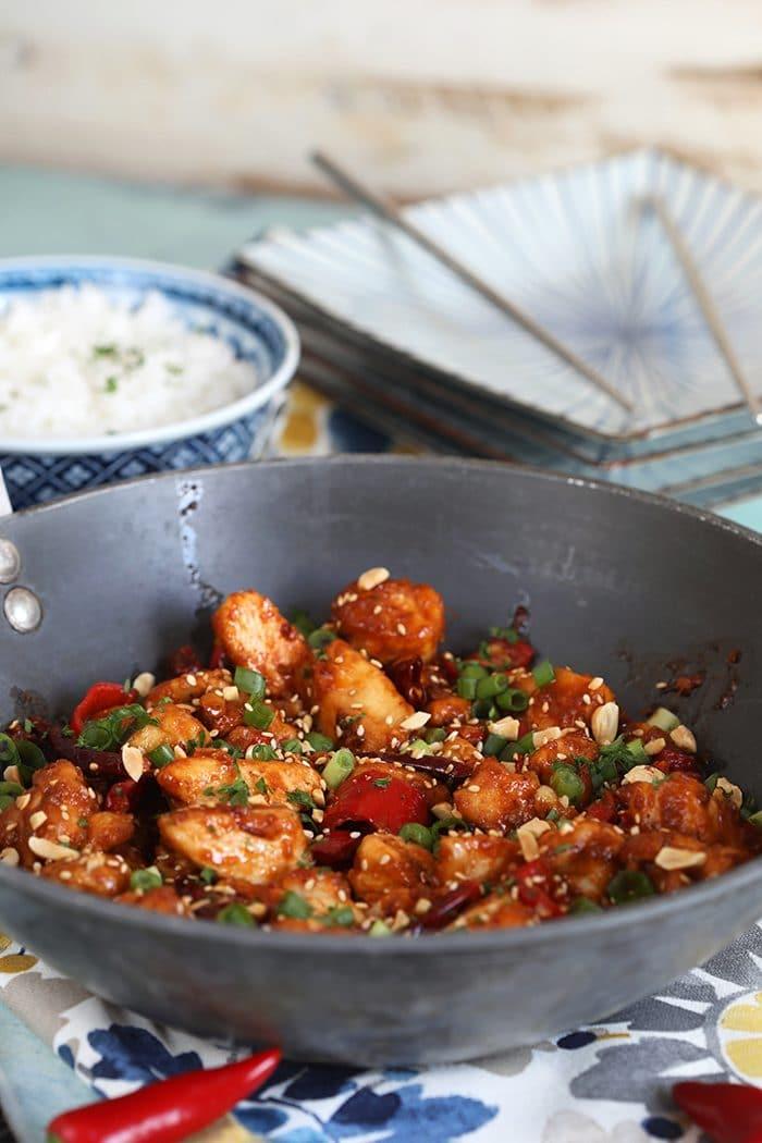 Szechuan Chicken in a black wok.