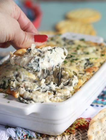 Cracker being dipped into hot Spinach Artichoke Dip in a white dish.