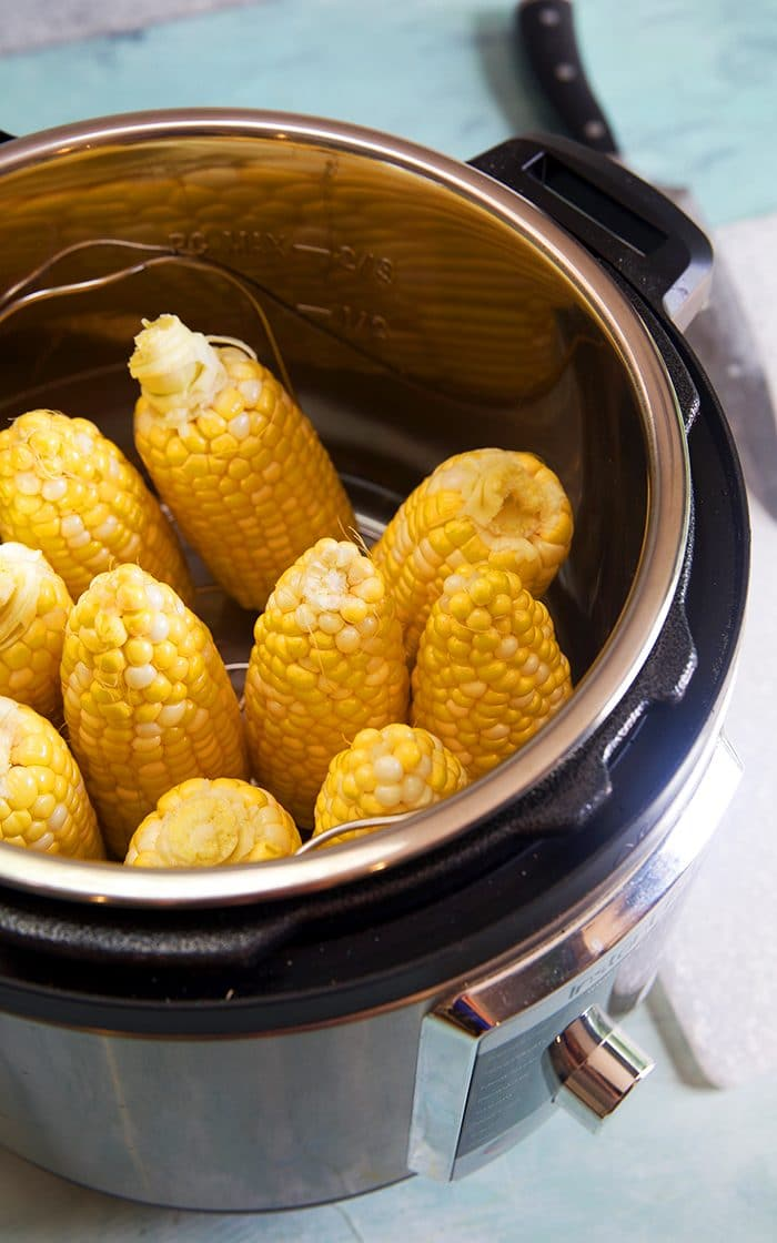 Overhead shot of corn on the cob in an Instant Pot