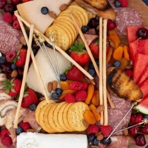 Overhead shot of a summer inspired charcuterie board.