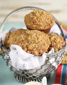Banana Bread Muffins in a basket.