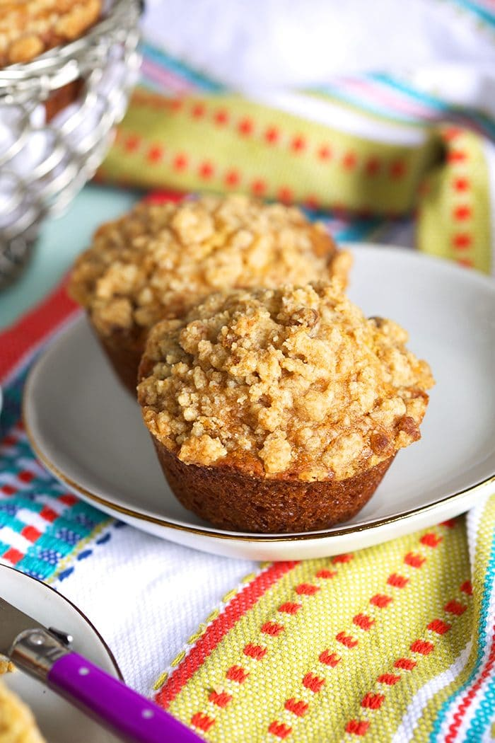 Banana Bread Muffin on a white plate.