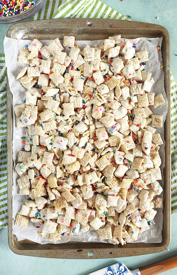 Overhead shot of puppy chow on a baking sheet