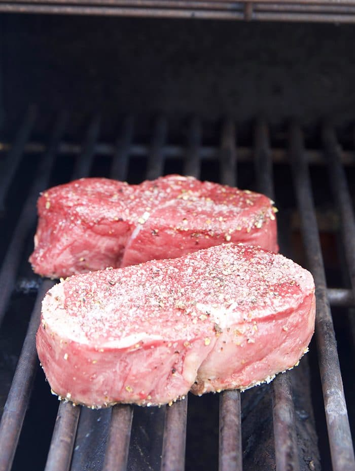 Filet Mignon on a grill.
