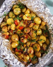 Overhead shot of Southwestern Grilled Potatoes in a foil packet from thesuburbansoapbox.com
