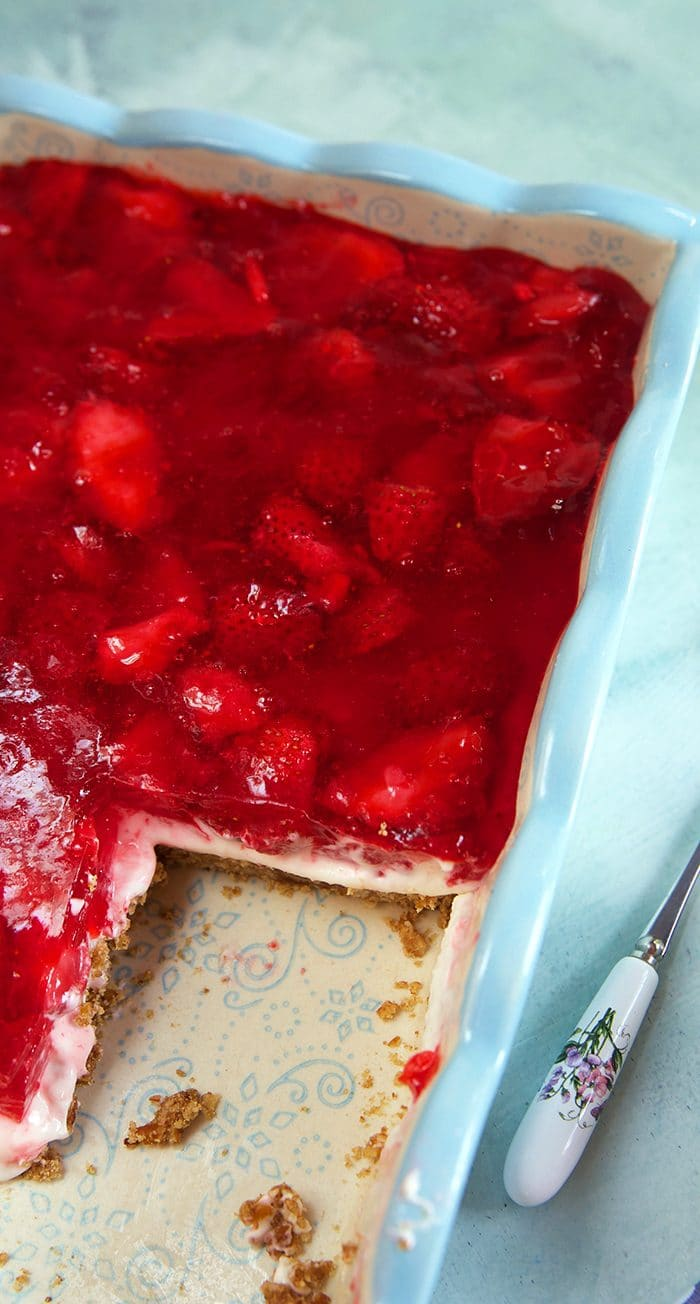 Strawberry Pretzel Salad in a baking dish.