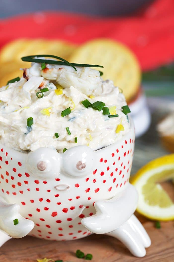 Crab dip in a bowl shaped like a white crab.